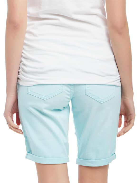 Secret Fit Belly Roll Hem Maternity Bermuda Shorts, Cool Aqua