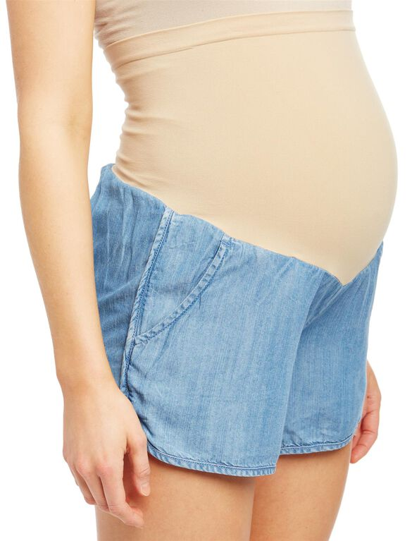 Secret Fit Belly Chambray Maternity Shorts, Chambray