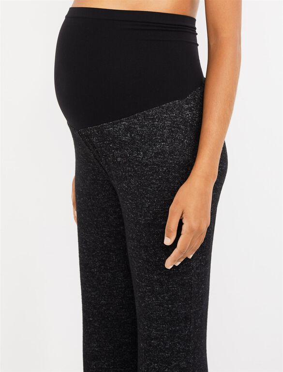 Secret Fit Belly Hacci Knit Wide Leg Maternity Active Pants, BLACK/GREY MARL