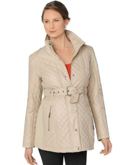 Front Pocket Maternity Coat, Cream