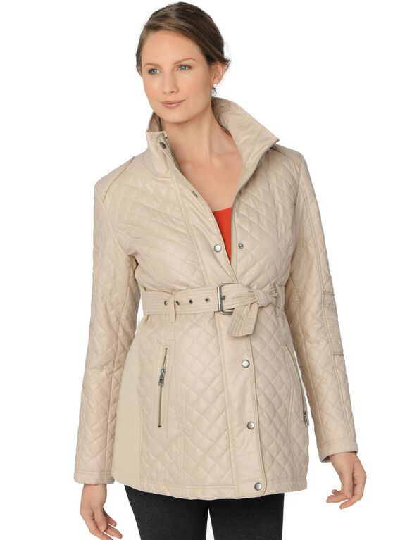Front Pocket Maternity Coat, Cream