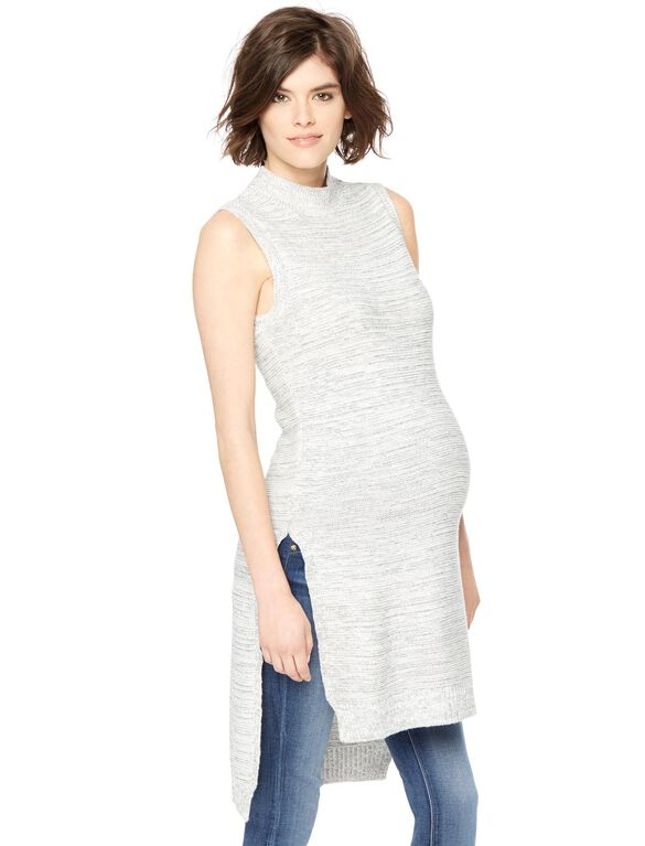 Mock Neck High-low Hem Maternity Sweater, Grey