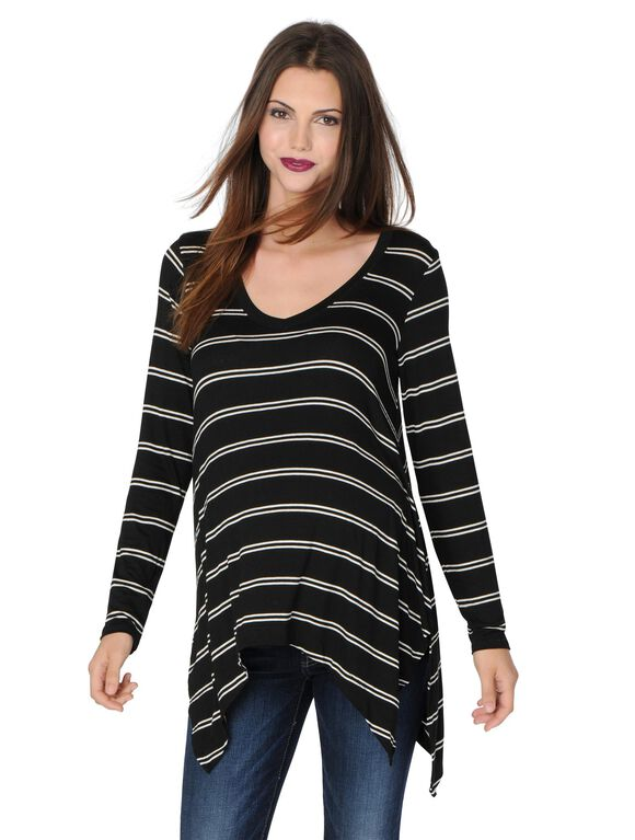 Splendid Sharkbite Hem Maternity Sweater, Black/White