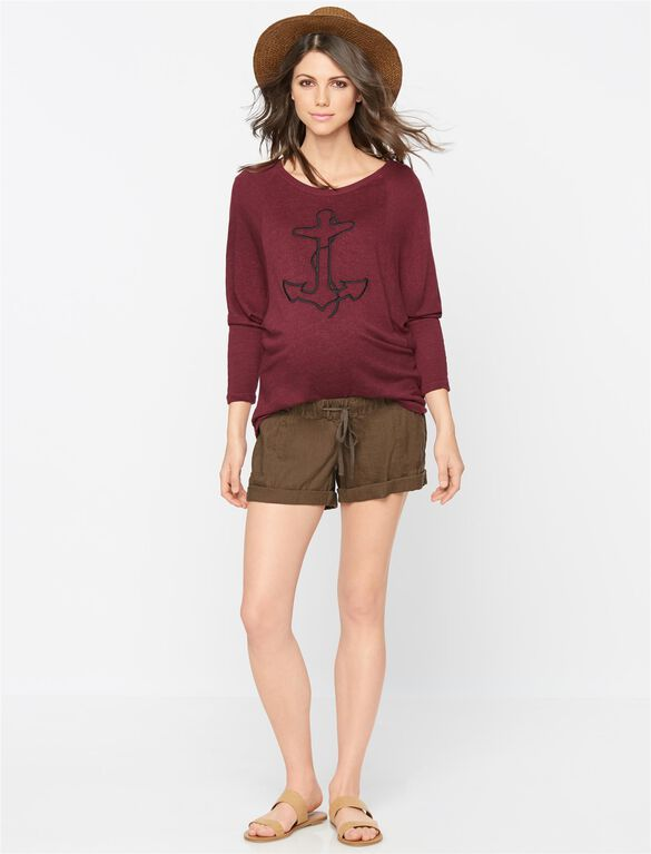 Dolman Sleeve Maternity Top, Burgundy