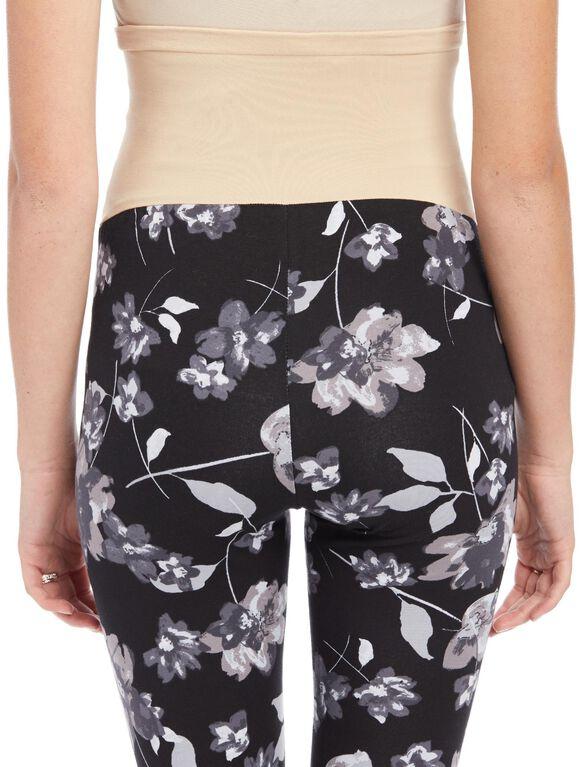 Secret Fit Belly Printed Maternity Leggings- Black/White Floral, Black/White Floral