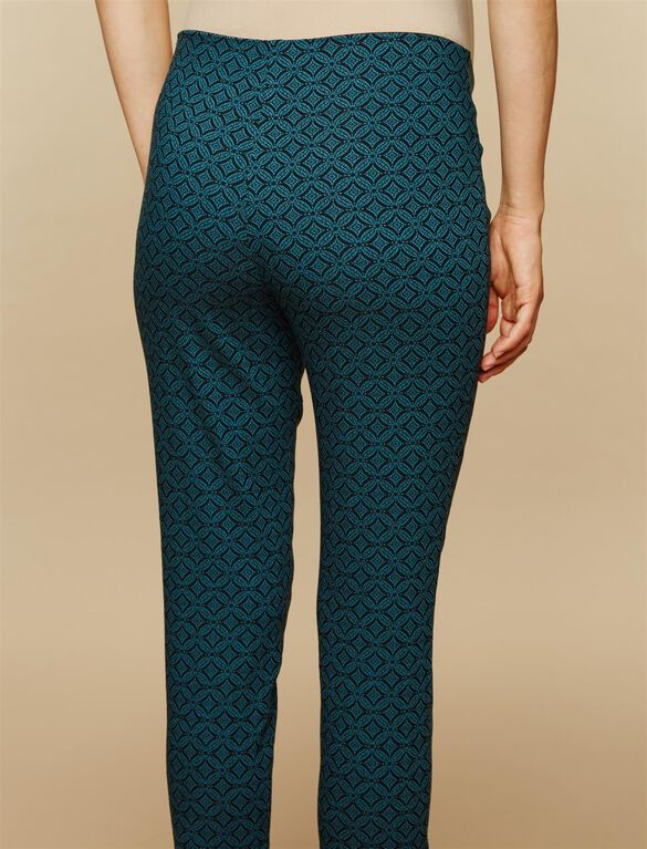 Under Belly Rayon Skinny Leg Maternity Pants, Teal/Black Jacquard