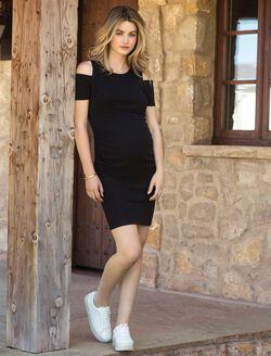 Cold Shoulder Maternity Dress, BLACK