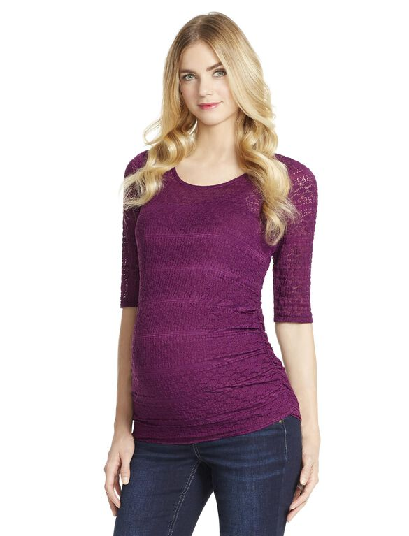 Jessica Simpson Lace Maternity Top, Dark Purple