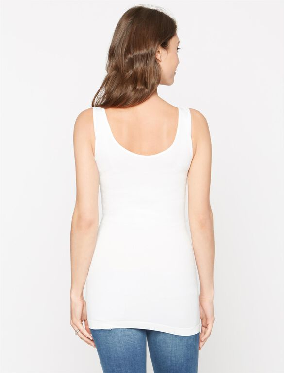Seamless Reversible Maternity Tank, White
