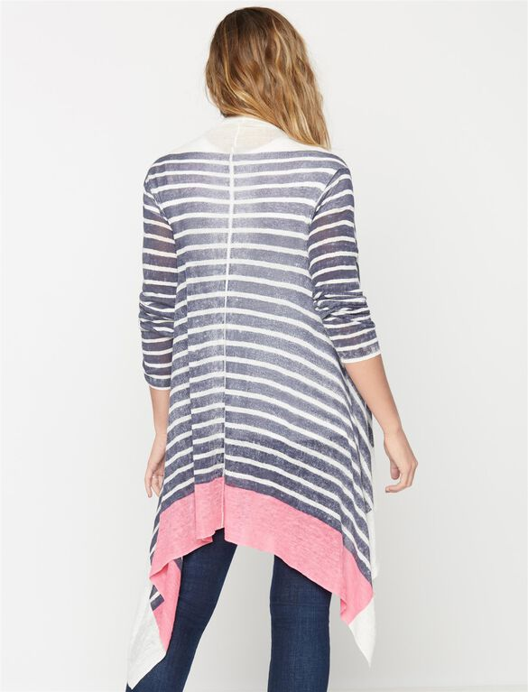 Splendid Bias Cut Maternity Cardigan, Navy/Bloom Stripe