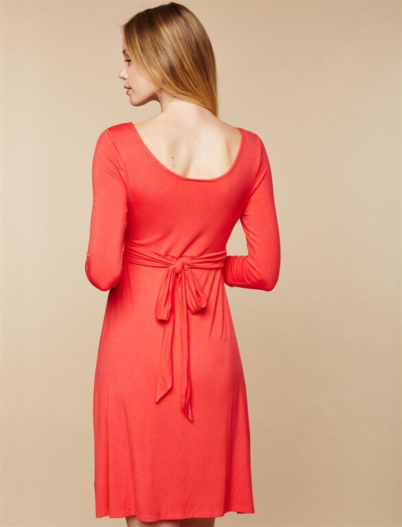Knot Front Maternity Dress, Coral