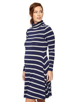 Trapeze Turtleneck Maternity Dress, Navy Stripe