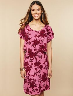Lift Up Flutter Sleeve Nursing Dress, Red Floral