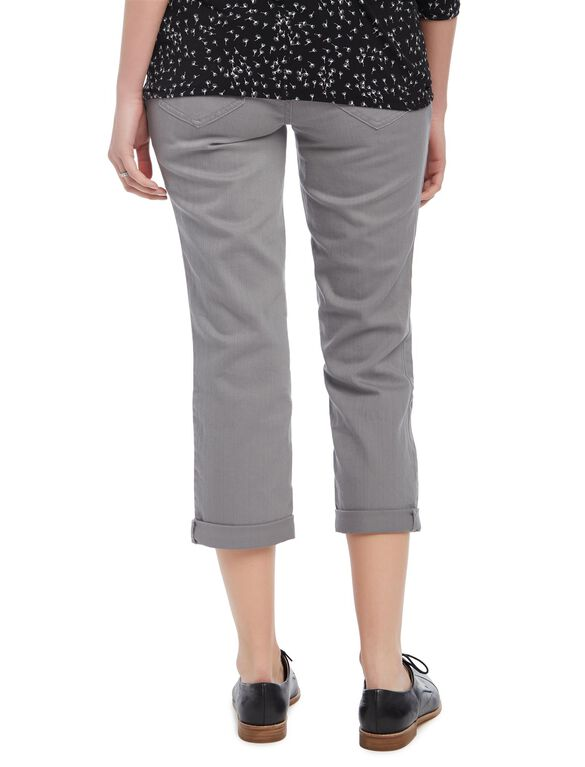 Secret Fit Belly Twill Skinny Leg Maternity Crop Pants, Grey