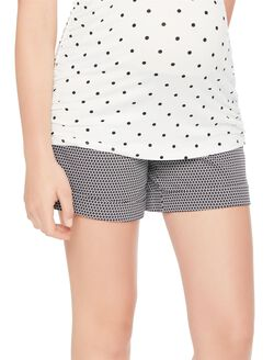 Secret Fit Belly Cuffed Sateen Maternity Shorts, Geo Print