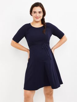 Pleated Waist Maternity Dress, Navy