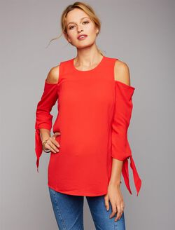Cold Shoulder Tie Sleeve Maternity Blouse, Red