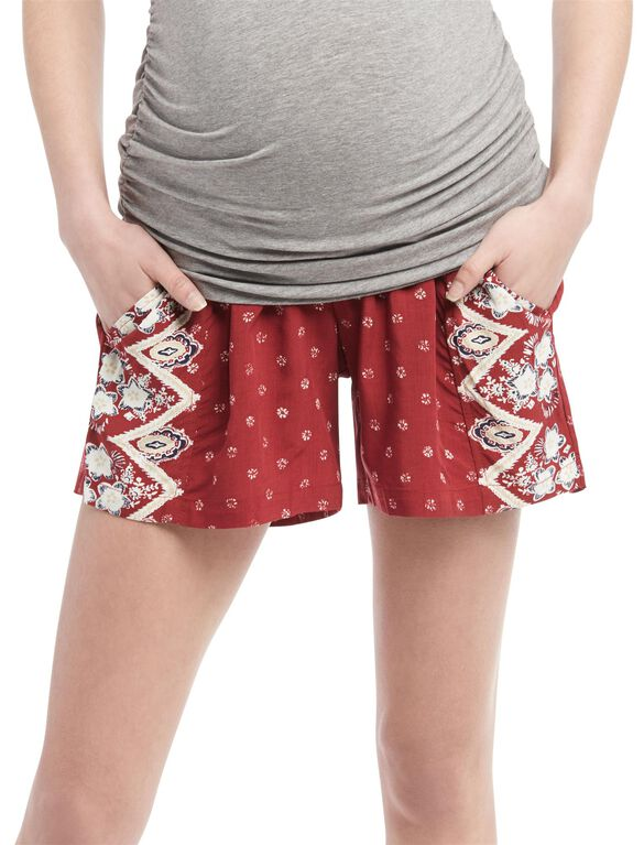 Secret Fit Belly A-line Maternity Shorts, Multi Print