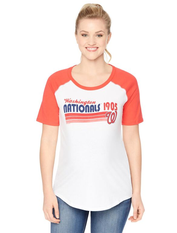 Washington Nationals MLB Elbow Sleeve Maternity Graphic Tee, Nationals
