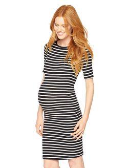 BCBGMAXAZRIA Briza Maternity Dress, Black/White Stripe