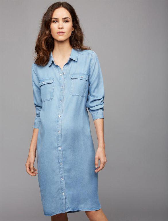 Ripe Denim Maternity Shirt Dress, Denim