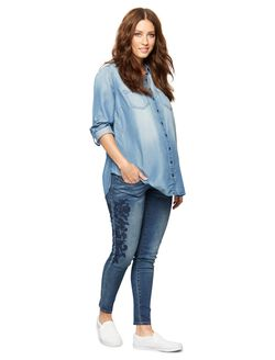 Luxe Essentials Denim Secret Fit Belly Embroidered Maternity Jeans, Medium Wash