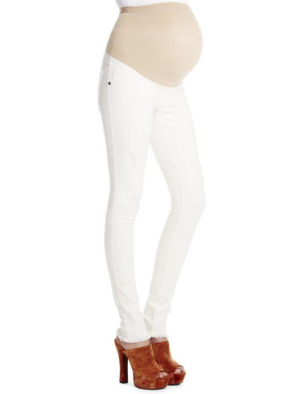 Jessica Simpson Secret Fit Belly Frayed Skinny Maternity Jeans, Cream