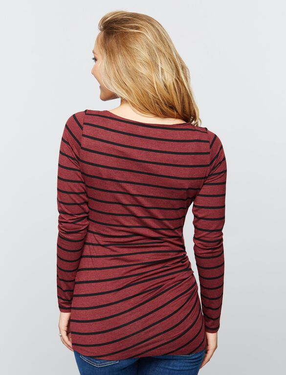 Pleated Maternity Top- Burgundy Stripe, Burgandy Stripe