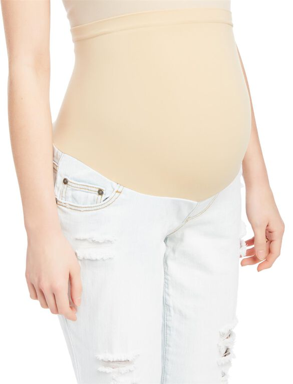 Indigo Blue Secret Fit Belly Boyfriend Maternity Jeans, Sun Faded Light Wash