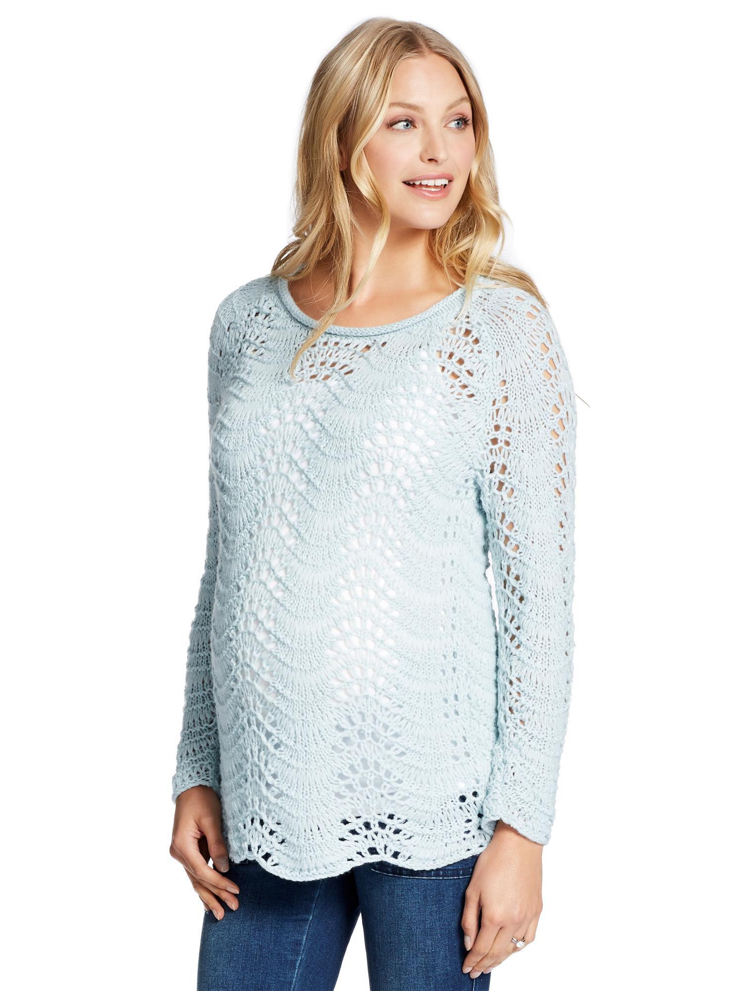 Jessica Simpson Pointelle Scallop Hem Maternity Sweater