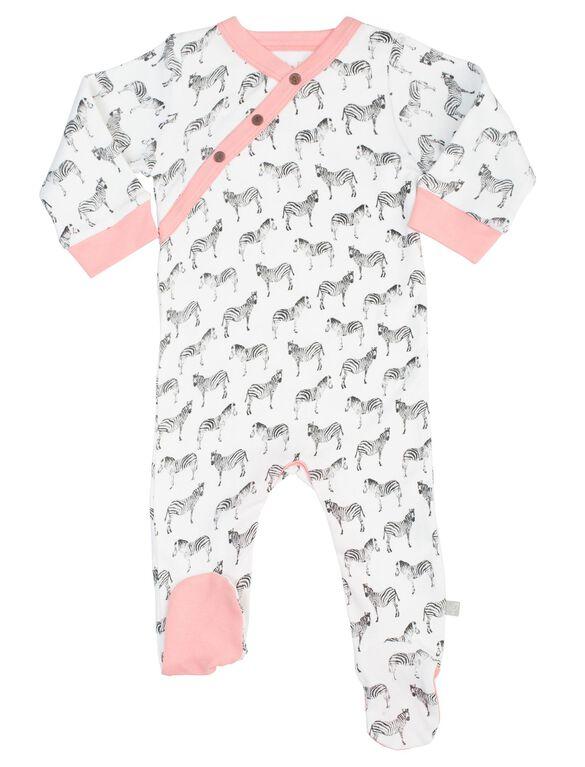 Finn + Emma Organic Baby Footie- Zebra Print, Zebra Print
