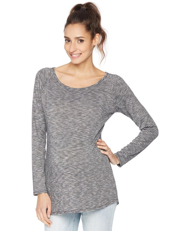 Raglan Sleeve Maternity Shirt- Black/White, Black And White
