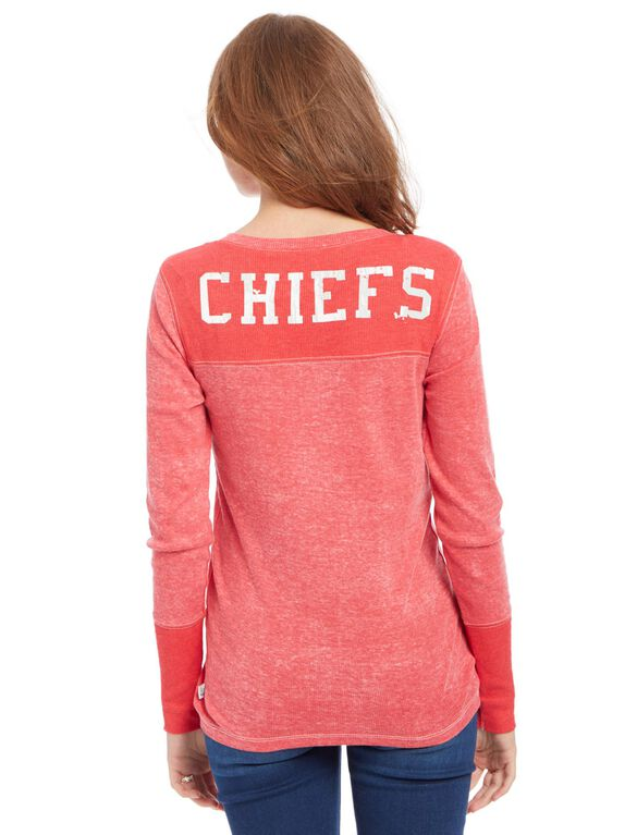 Kansas City Chiefs NFL Long Sleeve Maternity Graphic Tee, Chiefs Red