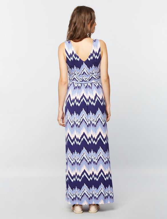 Sleeveless Ruched Waist Maternity Maxi Dress- Blue Chevron, Chev Stripe