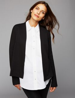 Three Dots Ponte Maternity Blazer, Black