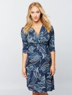 Madderson London Knit Maternity Dress - Print, Blue/White Print