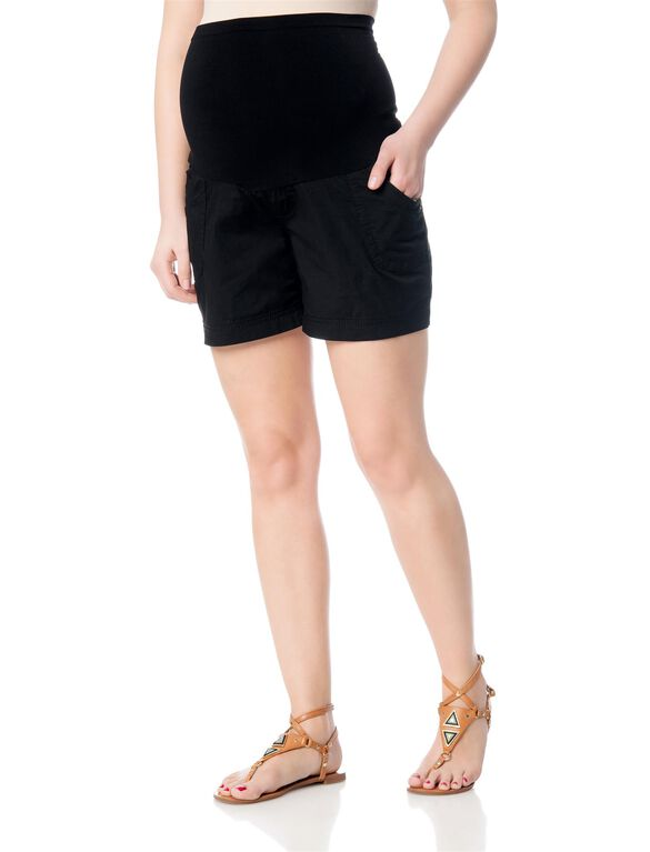 Secret Fit Belly Poplin Cargo Maternity Shorts, Black