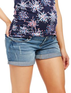 Side Panel Roll Hem Maternity Shorts, Dark Wash