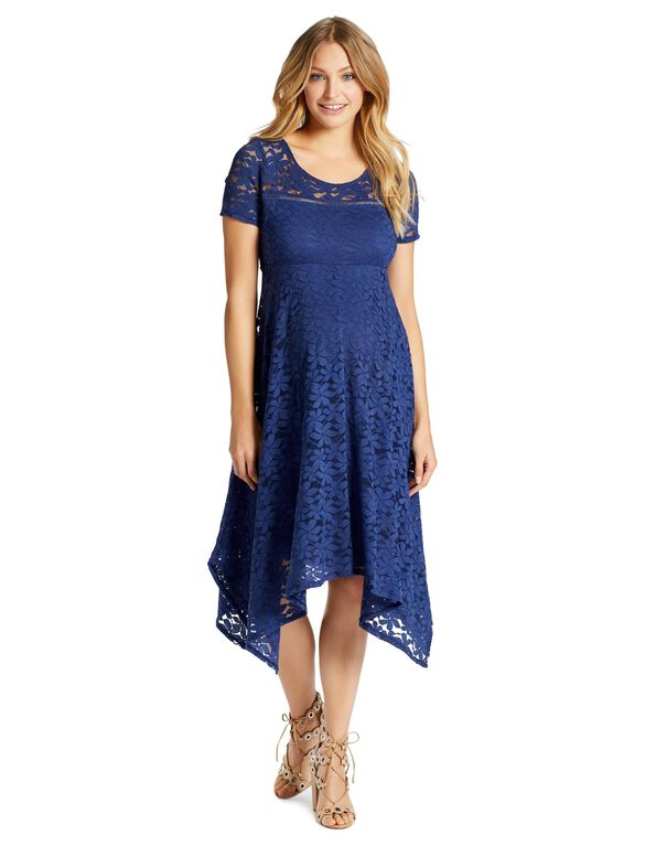 Jessica Simpson Hanky Hem Maternity Dress, Cobalt
