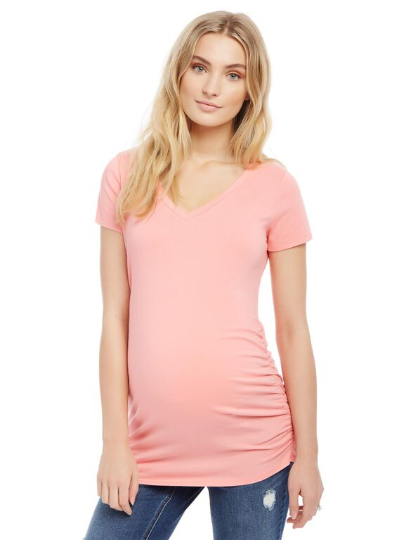 V-neck Side Ruched Maternity Tee- Solid, Tea Rose