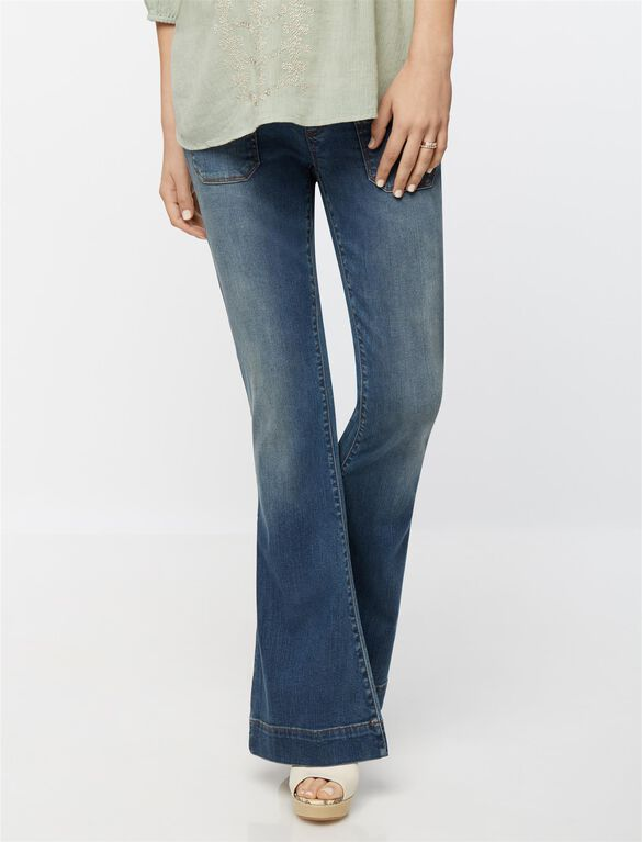 Luxe Essentials Denim Secret Fit Belly Flare Maternity Jeans, Medium Wash