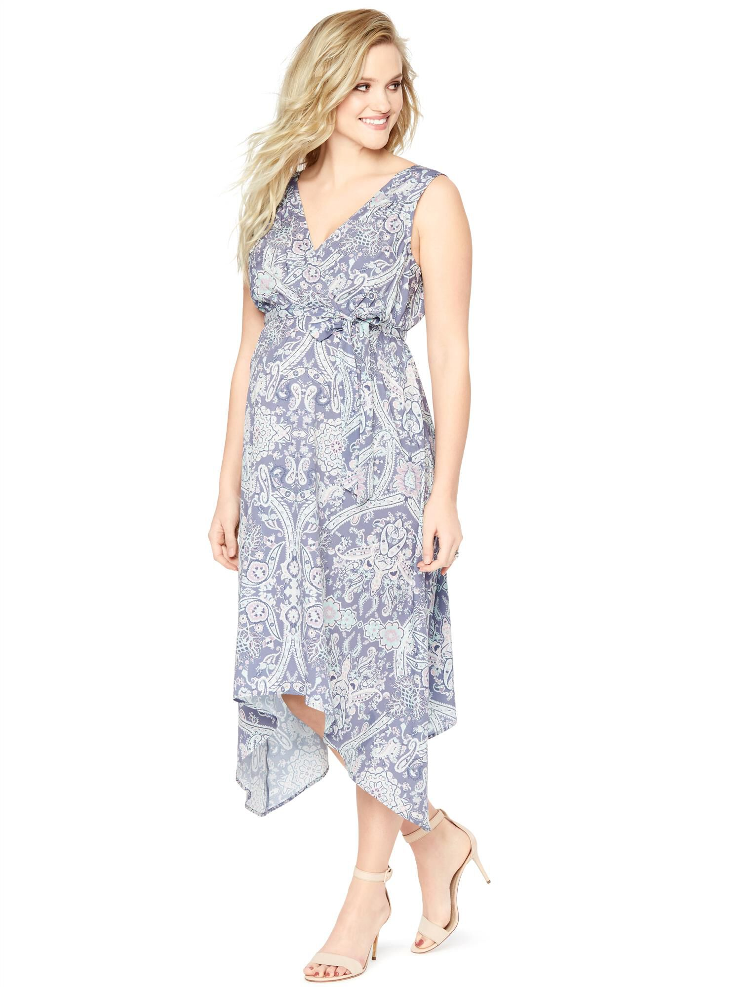 Sleeveless Hanky Hem Maternity Dress