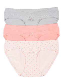 Maternity Hipster Panties (3 Pack)- Dot/Heart, Medium Pink