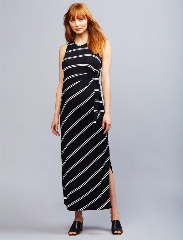 Ripe Side Tie Maternity Maxi Dress, Blk/Wht Stripe
