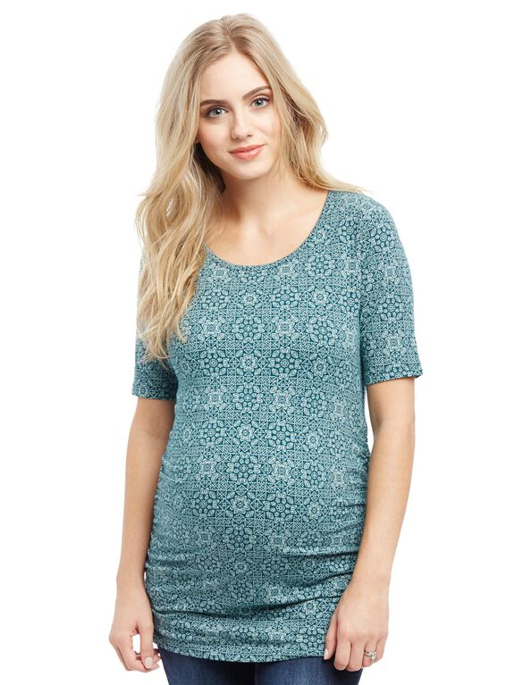 Elbow Sleeve Side Ruched Maternity Tee- Teal Geo, Teal Geo