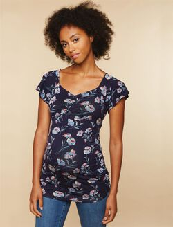 Floral Flutter Sleeve Maternity Top, Navy Multi Floral