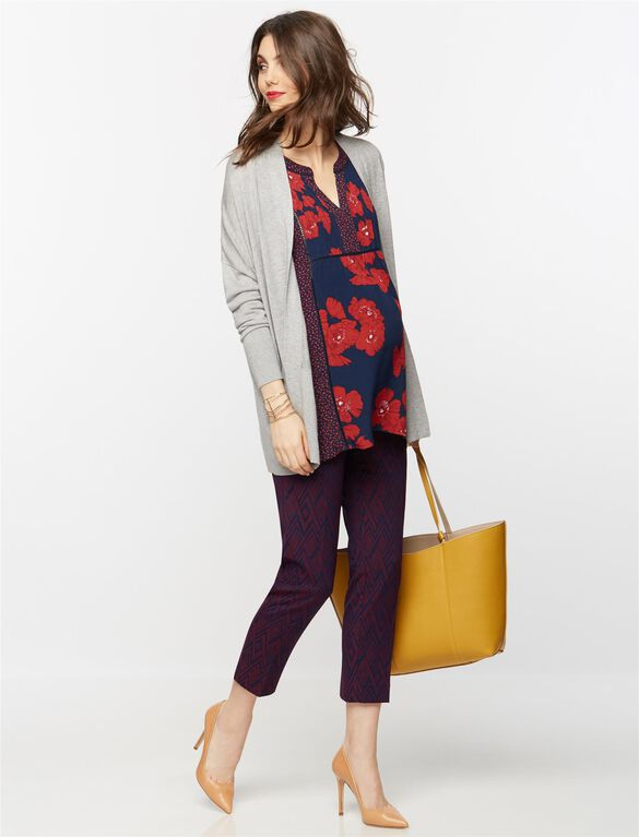Mixed Floral Lace Trim Maternity Tunic, Floral Print