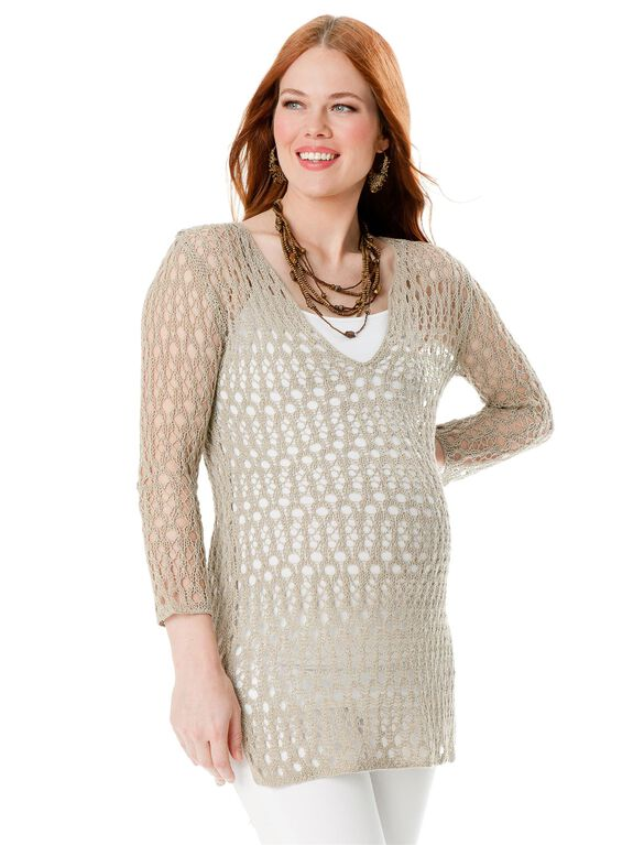 Straight Fit Maternity Sweater, Flax