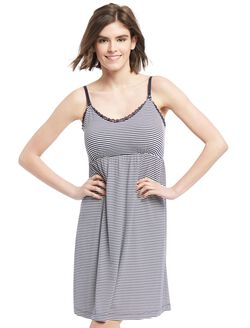 Bump in the Night Nursing Nightgown- Navy Stripe, Navy Stripe