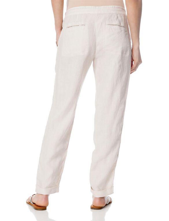 Pull On Style Linen Straight Leg Maternity Pants- Smokey Quartz, Smokey Quartz